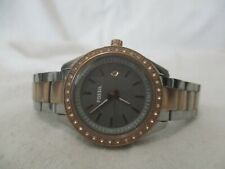 Fossil Rhinestone Watch, Twotone Metal Link Band, Date, Gray Dial, WORKING!