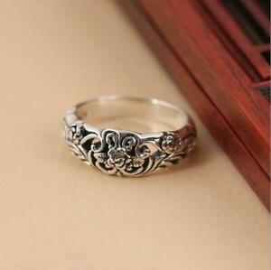 Vintage Flower 925 Silver Rings for Women Jewelry Party Rings Size 10