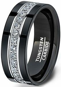 Mens Wedding Band Tungsten Rings Fully Stacked Around The Ring Cubic Zircon
