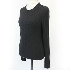 George 2-Ply 100% Cashmere Cable Knit Soft Warm Crew Neck Black Sweater Medium