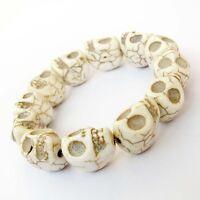 White Howlite Turquoise Skull Tibet Buddhist Prayer Beads Mala Bracelet