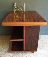 Vintage DANISH MOD ROSEWOOD Side End Table W/ Shelves CASTERS Signed MID  CENTURY
