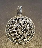 Sterling Silver Pendant Openwork Filigree Marcasite Gemstone Round Medallion