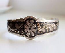 Vintage Niello enamel solid silver bangle Russian bracelet 875 USSR rare gift