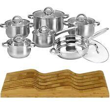 12 Piece Cookware Set Stainless Steel Pot Pan + Organic Bamboo Knife Block