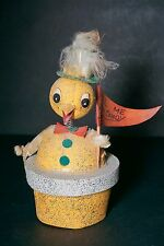 "Antique 5"" Bobble Head Chicken Japan Candy Box with Banner Free Ship"