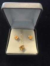 Clyde Duneier 14K Yellow Gold Necklace & Earring Set Amber Stone