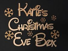 """Personalised """"Christmas Eve Box"""" Snowflake Topper, Craft Sign, Plaque."""