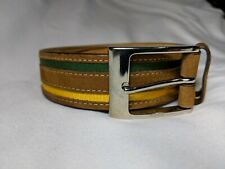 MAUS & HOFFMAN Suede BELT Size 44 Brass Made in Italy Leather Green Yellow