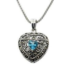 Sterling Silver Marcasite Pendant with Blue CZ in Middle Vintage Style