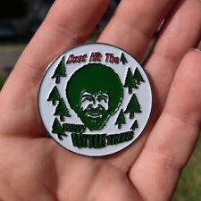 Disc Golf - NEW metal Bob Ross 1 3/4 Bag, hat, lapel pin