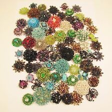 75 PC Handmade Assortment Beaded Flower Shell Rosette Star Butterfly Components