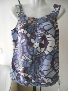top blouse en coton MEXX T 38/40 blanc et bleu
