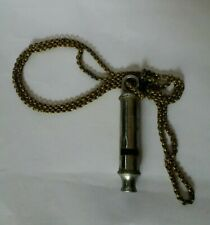 VINTAGE ANTIQUE CHROME ON BRASS POLICE MILITARY WHISTLE CHAIN w HOOK CORK BALL
