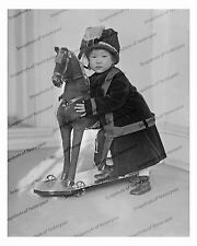 1910s era vintage photo-Adorable Asian baby girl with rocking horse-8x10in