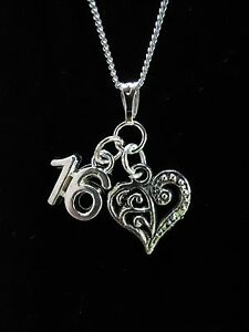 16TH BIRTHDAY GIFT NECKLACE WITH VARIOUS CHARMS TO CHOOSE.STERLING SILVER OPTION
