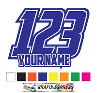 Custom Race Numbers and Name x3 Vinyl Stickers^Decals Motorbike Moto_cross Quad