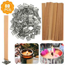 80Pcs DIY Wooden Candle Wicks Core Sustainer For Candles Making Supplies Kit Tab