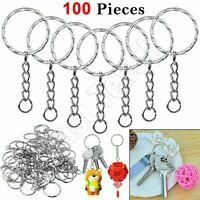 10-100pcs 10mm Keyring Blanks 'Split Rings' Light Silver Key Chain Links Fishing