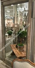 """XXL 74"""" FRENCH COUNTRY FARMHOUSE DECOR ANTIQUED WOOD LEANING OR WALL MIRROR"""