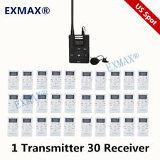 Fm Wireless Tour Guide System 1 Transmitter 30 Receivers For Church Translation