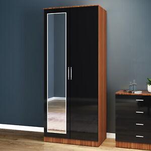 2 Door Double Wardrobe Storage Full Mirrored Black Walnut   Bedroom Furniture