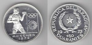 PARAGUAY - RARE 150 GUARANIES SILVER PROOF COIN 1973 YEAR KM#37 BOXER MUNICH