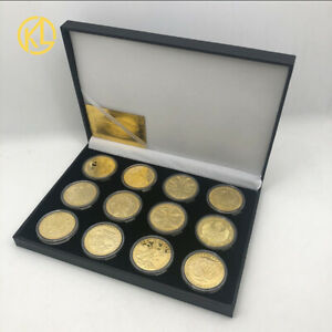 Twelve Constellations Zodiac Gold Plated Collectible Coin Original Coins Set box
