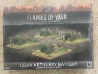 FLAMES OF WAR SOVIET 122MM ARTILLERY BATTERY - 4 PLASTIC GUNS - NEW AND SEALED