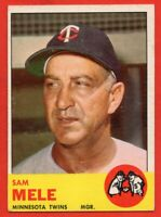 1963 Topps #531 Sam Mele EX/EX WRINKLE High Number Minnesota Twins Free Shipping