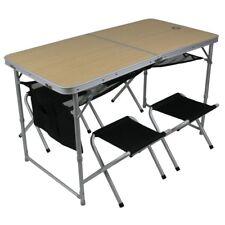 10T Portable Family - Set tavolo-sgabelli portatile per 4 persone, alluminio, va