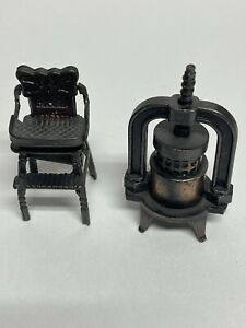 Vintage Die-Cast Metal Brass Pencil Sharpener Miniature Scale Lot Of 2