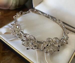 Stunning Vintage Silver Filigree Bracelet Flowers Bar Clasp