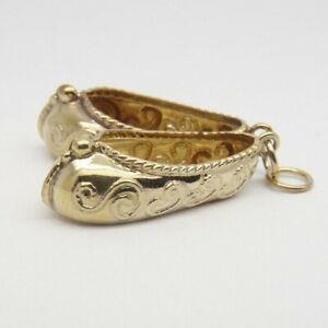 Oriental Slippers Charm / Pendant - 9ct Yellow Gold - 21x9mm (Each Slipper)