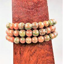 Unakite Bracelet Round Jasper Beads Elastic Band W1 Healing Crystals And Stones