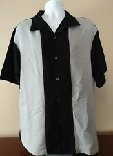 Men's Milano Bay Button Front Gray & Black Short Sleeve Bowling Shirt XL