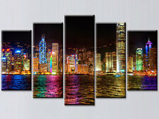 HONG KONG CITY LIGHTS LARGE CANVAS PRINTS SET OF 5 (ON FRAME) WALL ART