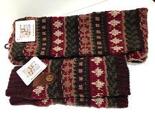 MUK LUKS Knit Trailblazer Scarf and Handwarmers NWT Maroon Brown Green