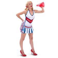 PLAYBOY ADULT CHEERLEADER COSTUME DRESS w POM-POMS HALLOWEEN COSPLAY Sz XS S M L