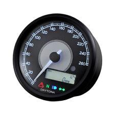 Velona Tacho 80mm, Schwarz, Beleuchtung weiß, bis 260 km/h, für Harley-Davidson