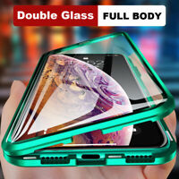 360° Front+Back Clear Tempered Glass Metal Case Cover For iPhone 11 Pro Max XR