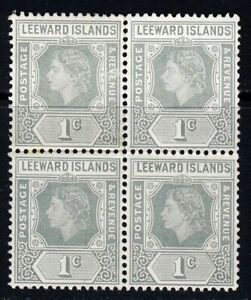 LEEWARD ISLANDS QE II 1954 1c. Grey BLOCK WITH LOOP FLAW SG 127a MNH