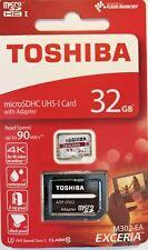 Toshiba Exceria M302 32GB microSDHC clase 10 Tarjeta de memoria NUEVO GENUINO + Gratis P&P