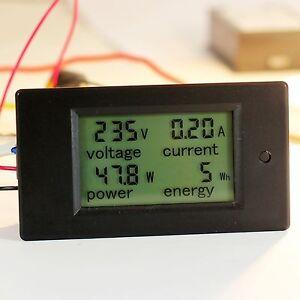 100A AC LCD Panel Digital Power Watt Meter Monitor Voltage KWh Voltmeter Ammeter