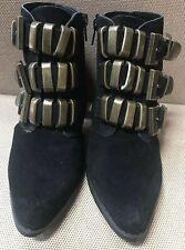 "NYLA ""General"" Black leather Slingback Bootie Size 7M"