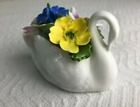 Aynsley Handpainted  Swan W/Floral Arrangement Bone China England 1775