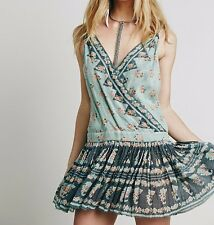 4490 New Free People FP One Plunging V Neck Floral Printed Rosa Twist Dress XS