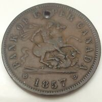 1857 Bank Of Upper Canada Circulated Canadian One Penny Token D524