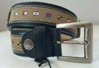 "Paul & Shark Yachting Men's Leather Belt Blue & Tan Adjustable Size 90 (35"") NWB"