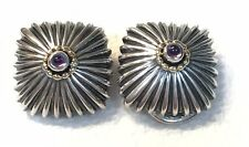 Large Sterling Silver Gold Amethyst Earrings Rare Vintage Clip Ons